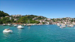 Boats in quiet Bosporus marina - stock footage