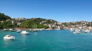 Boats in quiet Bosporus marina Stock Footage