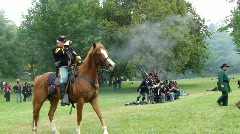 Union infantry advances under fire 731-3 Stock Footage
