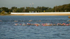 Womens swimming triathalon Stock Footage