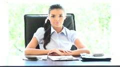 Stock Video Footage of Beautiful young businesswoman is shaking her head for rejection