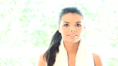 Portrait of beautiful and relaxed lady after fitness Stock Footage
