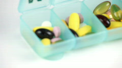 Weekly pill box Stock Footage