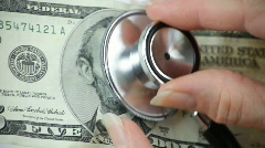 Health check money closeup Stock Footage