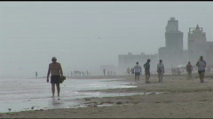 South Padre beach walkers wide 3 Stock Footage