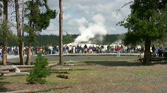 Old Faithful Geyser getting ready to erupt - stock footage