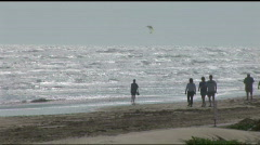 South Padre beach walkers wide 2 Stock Footage