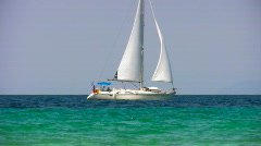 Sailing near coast 1 Stock Footage