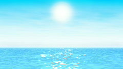 Turquoise seascape with sun and light clouds Stock Footage