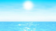 Stock Video Footage of Turquoise seascape with sun and light clouds