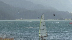 Kitesurfer on the Lake of Silvaplana Stock Footage