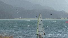 Kitesurfer on the Lake of Silvaplana - stock footage