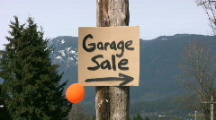 Garage Sale Sign With One Balloon (HD 1080p30) Stock Footage