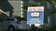 South Padre real estate sign tight Stock Footage
