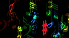 Flying music colorful musical notes - with alpha channel Stock Footage