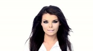 Young beautiful brunette with black scary makeup Stock Footage