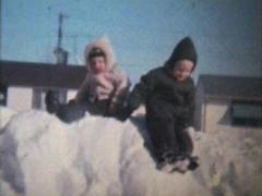Stock Video Footage of Brothers Playing In The Snow-1966-Vintage 8mm film