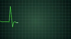 Green EKG heart monitor goes flatline (HD PAL) Stock Footage