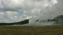 Old Faithful Geyser ending eruption Stock Footage