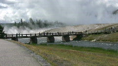 River Hotsprings and Walking bridge at Yellowstone Park Stock Footage