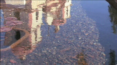 Mission Fountain Reflection Stock Footage