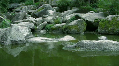 Lake with big boulders Stock Footage