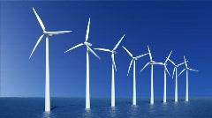 Wind turbines farm - stock footage