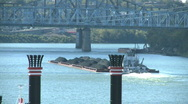 Barge on River Stock Footage