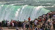 Stock Video Footage of Tourists at Niagara Falls edge