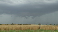 Wall Cloud under a severe thunderstorm, farmland Stock Footage