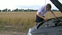Teenager and car. Stock Footage