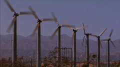 Row of Wind Turbines Stock Footage