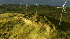 (1114) Wind Turbine Power Grid on Plains with Stormy Wilderness Sunset Stock Footage