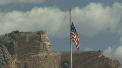 P00430 Crazy Horse Memorial and Flag Stock Footage