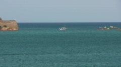 Boat near Spinalonga Stock Footage