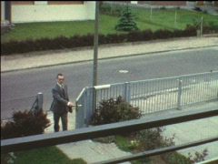 End of work: Father's coming home (vintage 8 mm amateur film) - stock footage