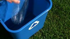 Green recycling bin high angle - HD  - stock footage