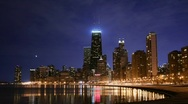 Stock Video Footage of Chicago Skyline Nightfall