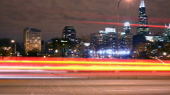 City Expressway Night Traffic Pan Stock Footage