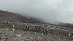 Japanese hikers on Mount Fuji Stock Footage