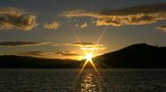 Orange sunset over a lake 2 Stock Footage