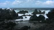 Stock Video Footage of Lava Rocks & Waves