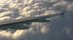 Aircraft Jet Wing Flying Over Storm Clouds At Cruising Altitude  Stock Footage