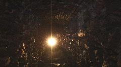 Children explore secret tunnel Stock Footage