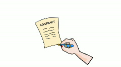 Signing contract Stock Footage