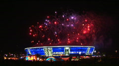 Salute in honor of the opening of Donbass Arena in Donetsk in Ukraine.  - stock footage