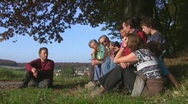 Rest during family hike Stock Footage