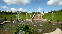 Fountain in Baroque Garden on a summer day Stock Footage