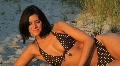 Beautiful Young Woman on Beach with Bikini Footage