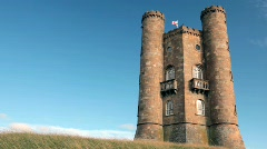 Stock Video Footage of Broadway Tower and Clouds